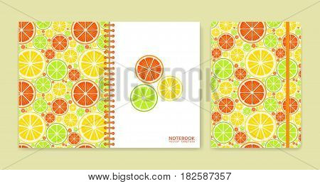 Cover design for notebooks or scrapbooks with citrus fruits. Vector illustration.