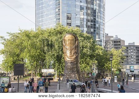 Le Pouce, work of art in la Defense, Paris, France, july 15th, 2016