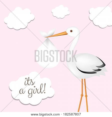 Stork With Girl Baby Card