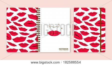 Cover design for notebooks or scrapbooks with lips. Vector illustration.