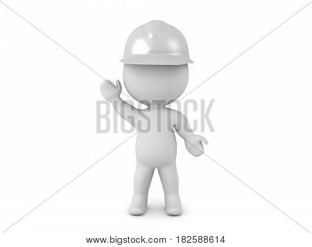 3D illustration of a white helmet rescue worker waving. The character is waving.