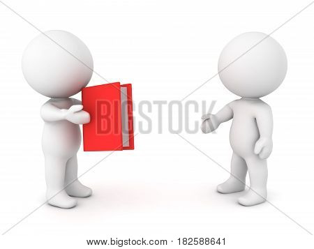 3D Character offering book to another person. This is image conveys the sharing of knowledge.