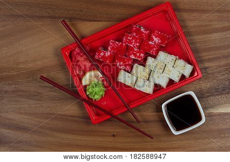 sushi rolls with ginger lemon and soy sauce
