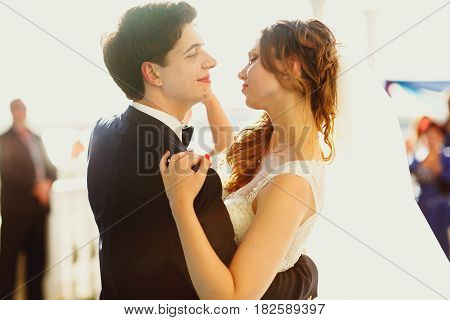 Groom Admires A Pretty Bride During A Dance