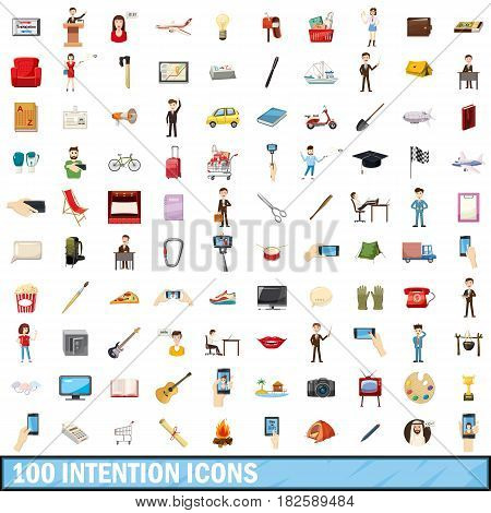 100 intention icons set in cartoon style for any design vector illustration