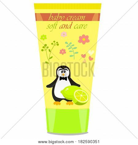 High quality original trendy vector Baby cream tube with kids design and penguin, lime illustration