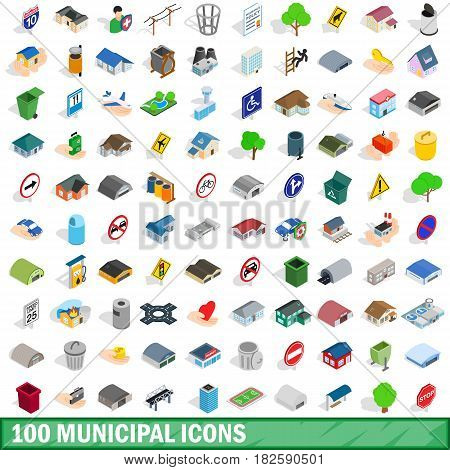 100 municipal icons set in isometric 3d style for any design vector illustration