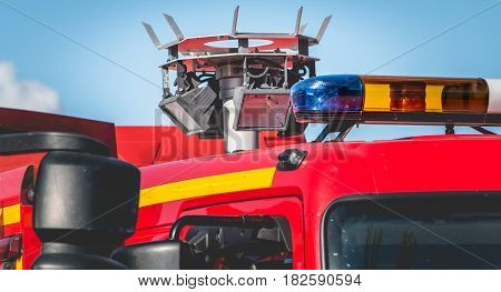 Large Halogen Projector On A Vehicle Extrication