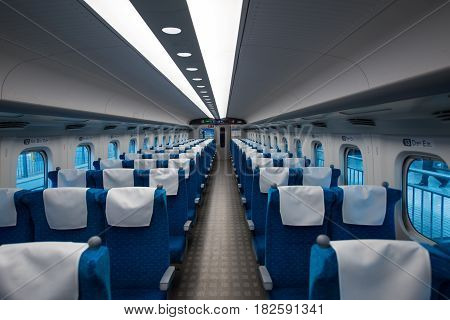 TOKYO - Interior of Japanese bullet train Shinkansen Tokyo on April 10 2017 in Japan.