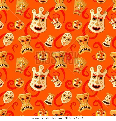 Different wooden voodoo masks on abstract red background seamless pattern