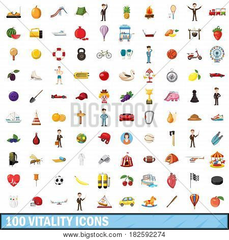 100 vitality icons set in cartoon style for any design vector illustration