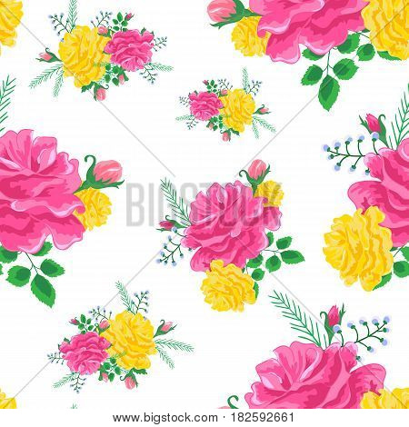 Magnificent bouquet.Beautiful seamless pattern with pink, yellow roses on a white background.Vector illustration in the style of shabby chic.Print for book covers, textile, fabric, wrapping gift paper