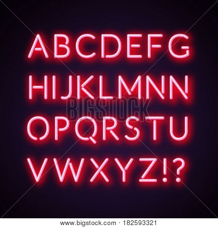 Red/pink neon alphabet. Vector illustration text stock.