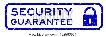 Grunge blue security assurance with lock icon square rubber seal stamp