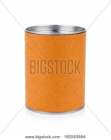 Blank Tincan Metal Tin Can on white background. canned