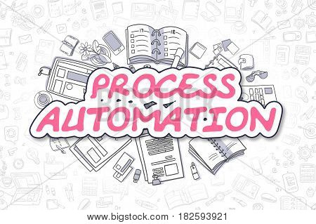Process Automation Doodle Illustration of Magenta Text and Stationery Surrounded by Cartoon Icons. Business Concept for Web Banners and Printed Materials.
