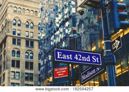 Manhattan (new York) Street Sign With Building Bokeh