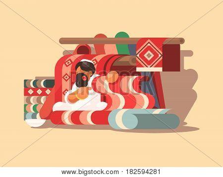 Seller of woolen carpets. Arab with beard sells goods in market. Vector illustration
