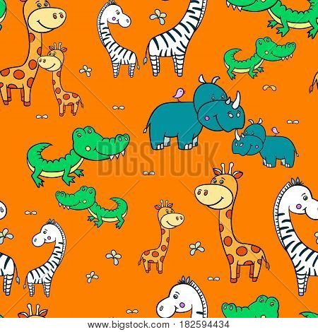 Seamless pattern with cute smiling Hippo, zebra, giraffe, crocodile, rhinoceros on an orange background.Cartoon African animals.colorful Vector illustration for children.Print for fabric, textile, paper.