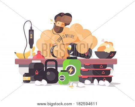 Bodybuilder athlete prepares protein cocktail. Sports nutrition and supplements. Vector illustration