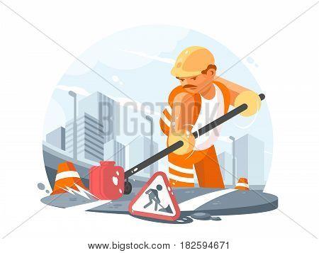 Road service worker in helmet repairs asphalt highway. Vector illustration
