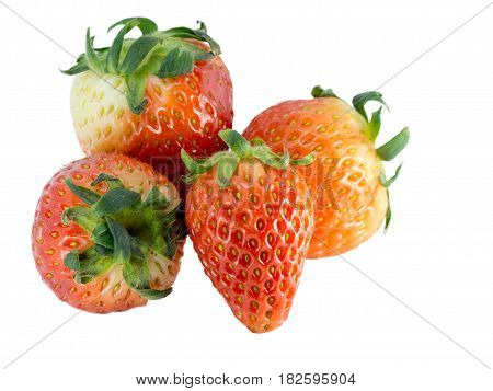Fresh red strawberry on a white background (isolated). The color of strawberry show a nice feel. Details of strawberry