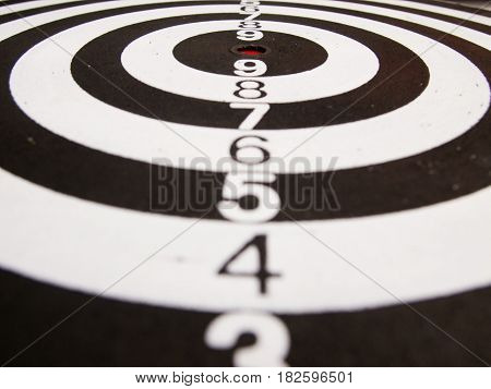 Black and white dart (Concept for target achievement business focus)