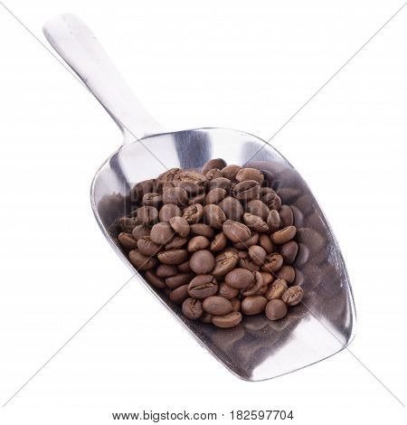 Arabica Coffee Beans In Aluminum Spoon On White Background