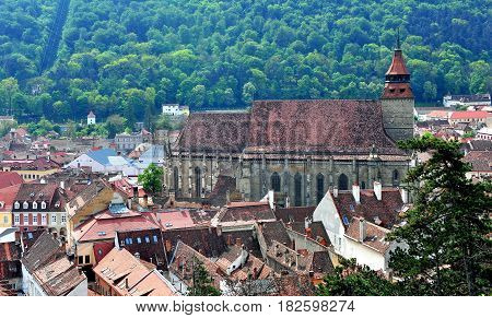 Old Black Church in Brasov town Transylvania Romania
