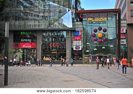BUDAPEST HUNGARY - MAY 26: Undefined people at the Corvin plaza shopping centre in downtown of Budapest on May 26 2016.