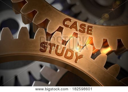 Case Study on Mechanism of Golden Cogwheels. Case Study on Mechanism of Golden Metallic Gears with Glow Effect. 3D Rendering.