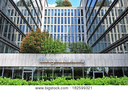 BUDAPEST HUNGARY - MAY 26: Morgan Stanley sign on facade of an office building in Budapest on May 26 2016. Morgan Stanley is an american company providing banking securities and investment management services.