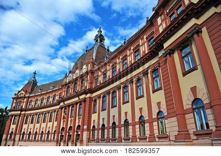 BRASOV ROMANIA - MAY 6: Facade of Brasov county prefecture in city centre of Brasov on May 6 2016. Brasov is a capital of Transylvania province of Romania.