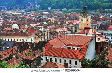 BRASOV ROMANIA - MAY 7: Top view of Brasov historical centre on May 7 2016. Brasov is a capital of Transylvania province of Romania.