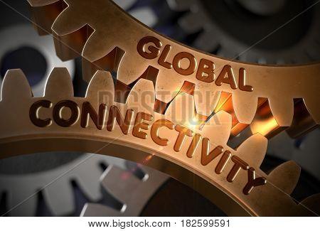 Golden Cogwheels with Global Connectivity Concept. Global Connectivity on the Mechanism of Golden Cogwheels. 3D Rendering.