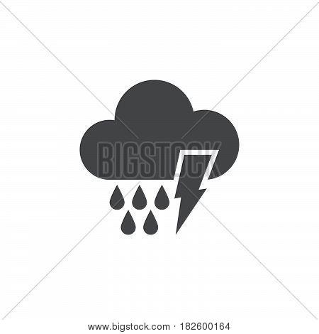 Lightning and rain icon isolated on white background .