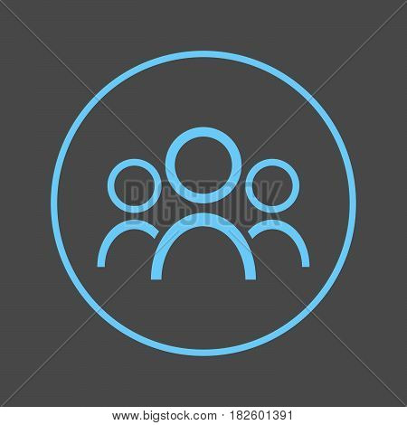 People circular line icon. Group Round colorful sign. Team flat style vector symbol