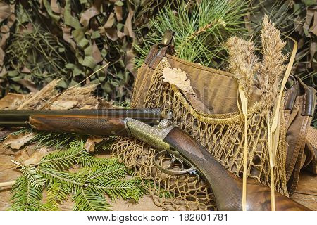 hunting still life: beautiful hunting rifle and equipment