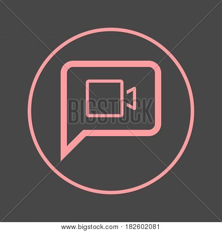 Video chat circular line icon. Round colorful sign. Flat style vector symbol