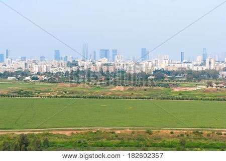 Tel Aviv and surroundings from Ariel Sharon Park, Israel