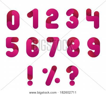 Numeral alphabeth. Pink Number set. Isolated vector