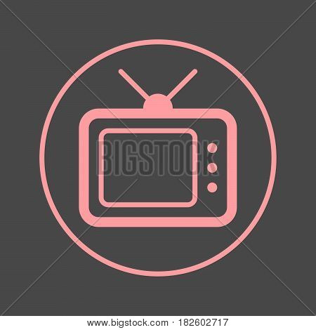 TV television circular line icon. Round colorful sign. Flat style vector symbol