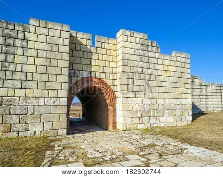 Reconstruction of ancient gate of Pliska capitals of the first Bulgarian kingdom