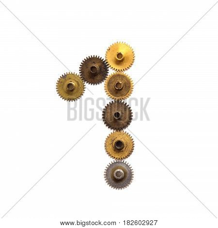 Cogs gears digit number one steampunk ornament style mechanical design Aged shabby bronze golden metal textured shape figure 1. Vintage clock wheels connection concept. White background, macro view.