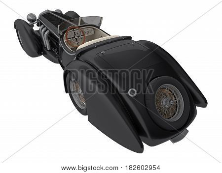 black retro car cabriolet back view isolated on white 3d rendering