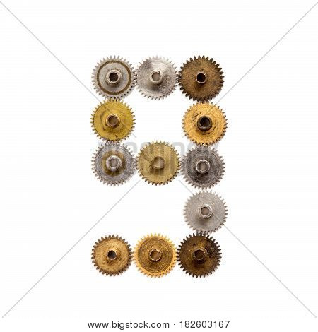 Steampunk cogs gears collection mechanical design digit number nine. Vintage rusty shabby metal textured industrial figure 9. Retro technology machinery wheels connection concept. White background.
