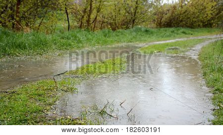 Heavy rainshower with wind. Rain drops falling to the puddles on the country road. HD video footage 1080p