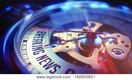 Pocket Watch Face with Breaking News Phrase on it. Business Concept with Film Effect.  Close Up View of Watch Mechanism.  Light Leaks Effect. 3D.