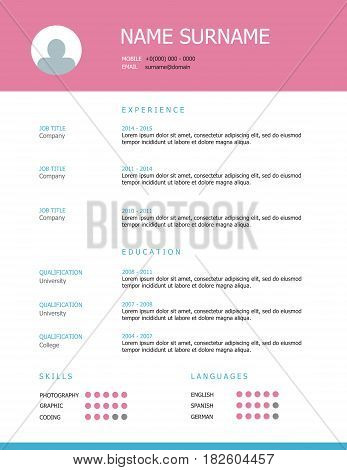 Resume Template Design With Pink Headings