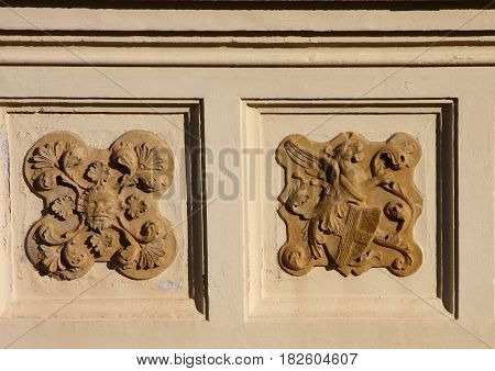 Arenzano Italy - Bas-reliefs on the façade of the castle of medieval origin restored in the early 900's of the Duchess